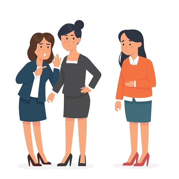 Работница получает издевательства со своим коллегой в ее офисе Premium векторы
