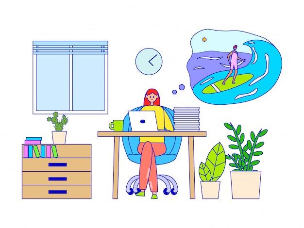 働く女性と夏休み、イラストを夢見ています。小さな雲の中の海でサーフィンキャラクターファンタジー。 Premiumベクター