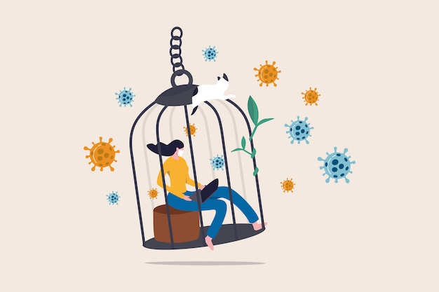 Женщина, работающая дома с возбудителями птичьей клетки как пандемия вируса covid-19 Premium векторы