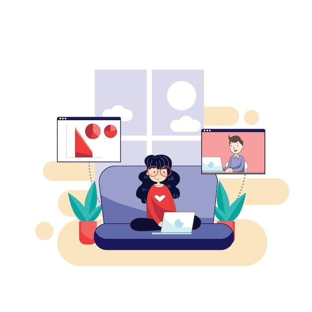 바이러스 감염을 방지하기 위해 집에서 노트북으로 일하는 여성 무료 벡터