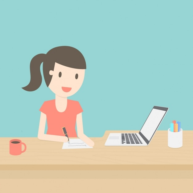Woman working background Free Vector
