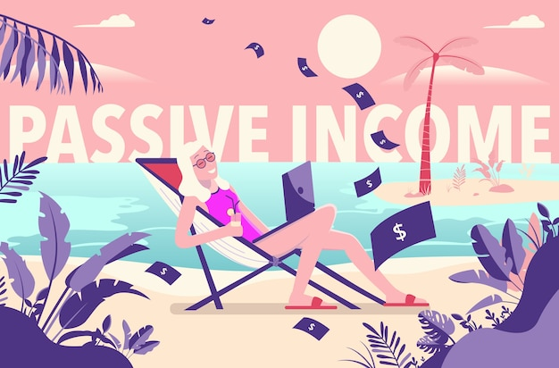 Woman working on beach making money with passive income Premium Vector