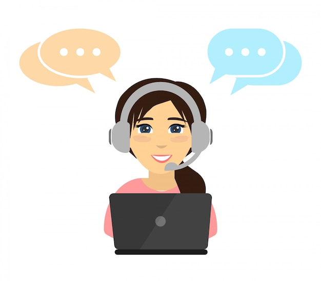 Woman working in a call center. . Premium Vector