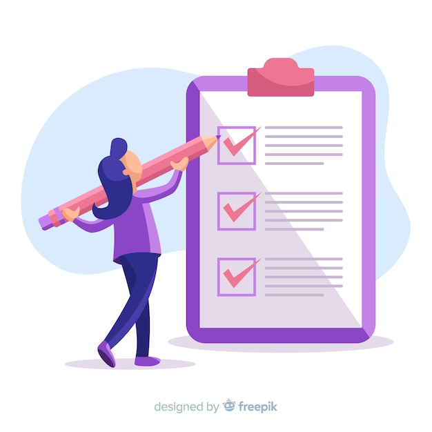 Woman working on checklist background Free Vector