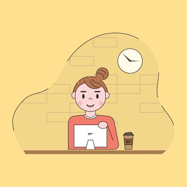 Woman working in computer illustration Free Vector