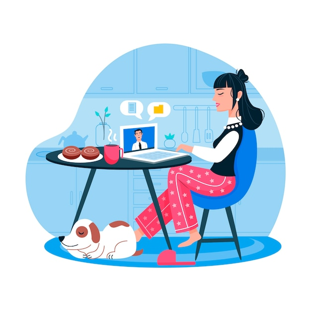 Woman working from home and dog Free Vector