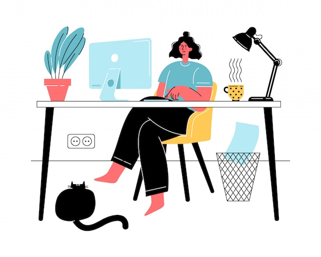 Woman working from home during the quarantine with cat. social distancing and self-isolation. freelance, online education, social media concept. Premium Vector