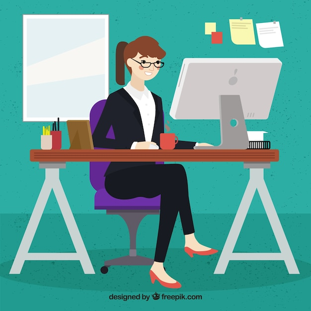 Woman working in her computer Free Vector