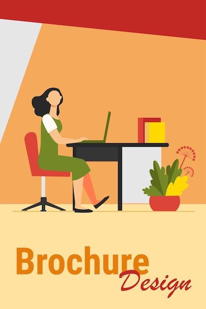 オフィスで働く女性。従業員、労働者、マネージャー、インテリアフラットベクトルイラスト。職場、専門家、ビジネスコンセプト 無料ベクター