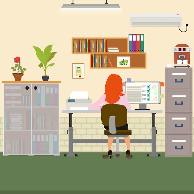 コンピューターのオフィスで働く女性。 Premiumベクター