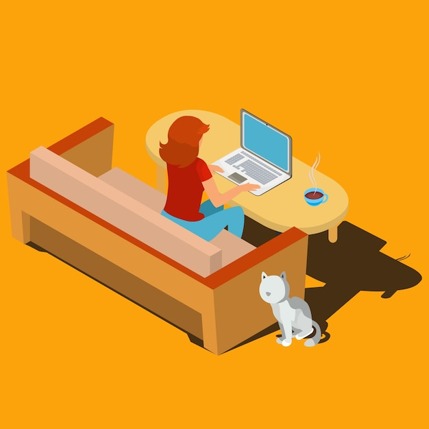 Woman working on laptop at desk isometric vector Free Vector