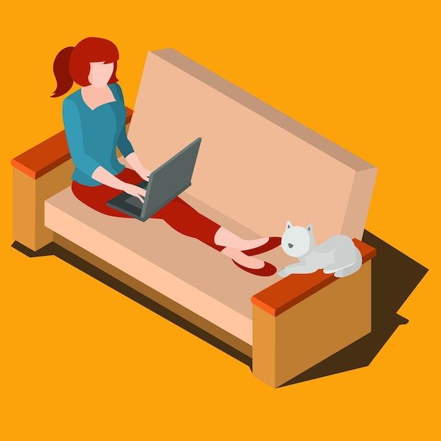 Woman working on laptop isometric vector Free Vector