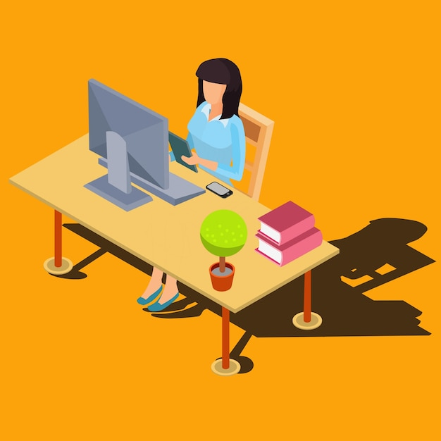 Woman working on computer at desk isometric vector Free Vector