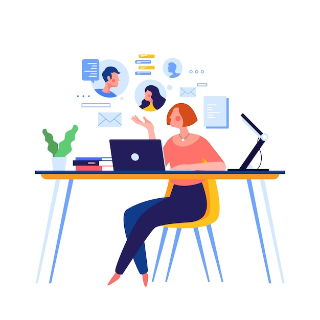 Womanworking in telecommuting inside house Free Vector