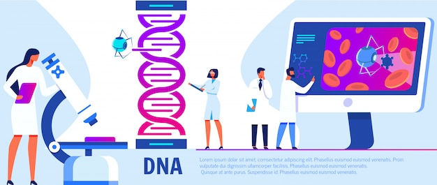 Woman working with microscope researching dna. Premium Vector