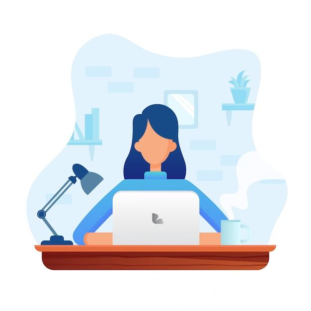 Woman working Premium Vector