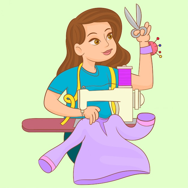 Woman works on sewing machine Premium Vector
