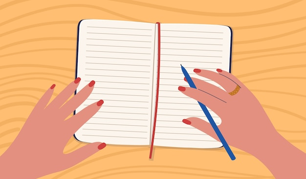 A woman writing by hand in a notebook.  illustration in a  cartoon style. Premium Vector