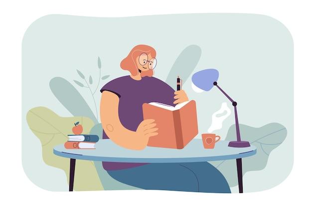 노트북에서 쓰는 여자. 책을 읽고 메모 여성 학생입니다. 만화 그림 무료 벡터
