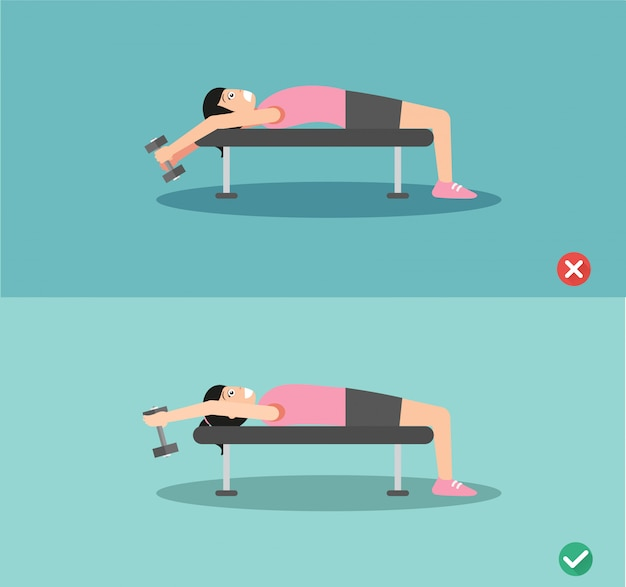 Woman wrong and right bench press  posture Premium Vector