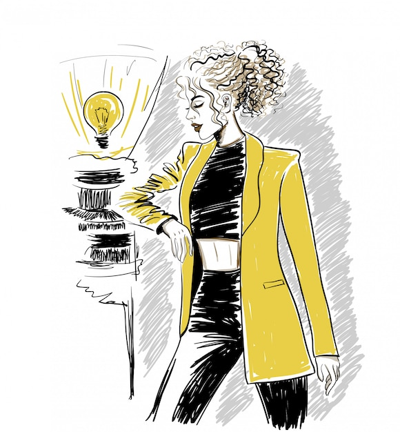 Woman in yellow jacket with wavy hair Premium Vector