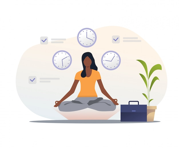 Woman in yoga apparel meditating at workplace Free Vector