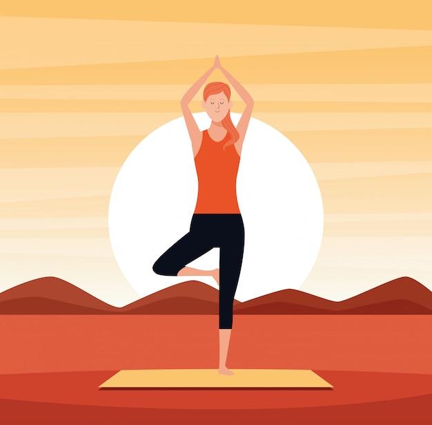 Woman in yoga poses Premium Vector