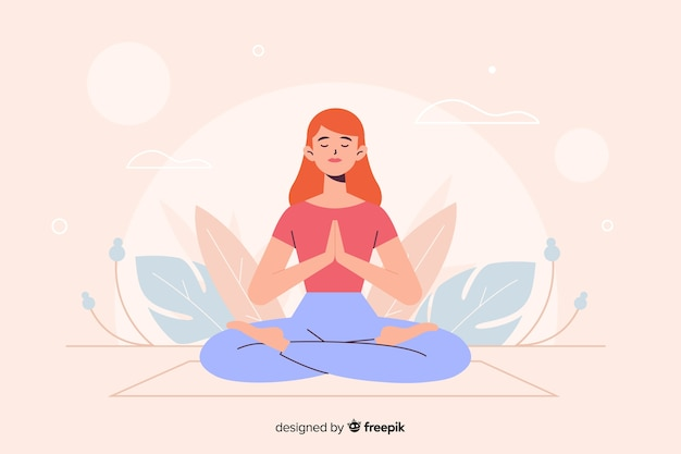 Woman in yoga position for landing page Free Vector