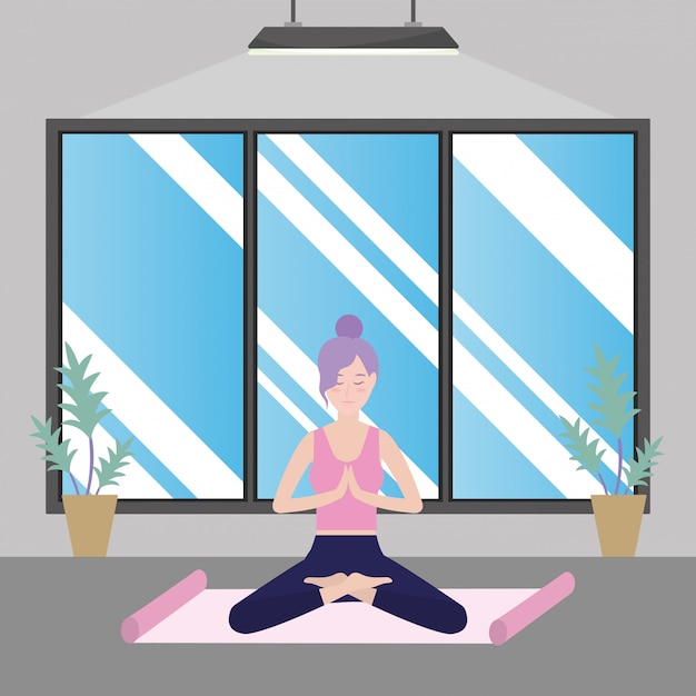 Woman and yoga Premium Vector