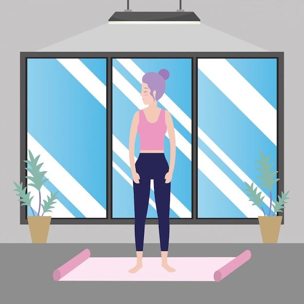Woman and yoga Premium Vector