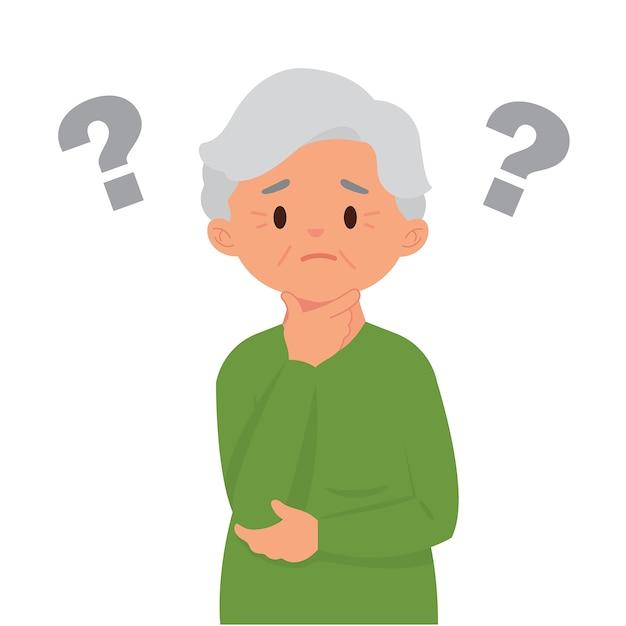 彼らは忘れやすいので、疑問符を持つ老woman Premiumベクター