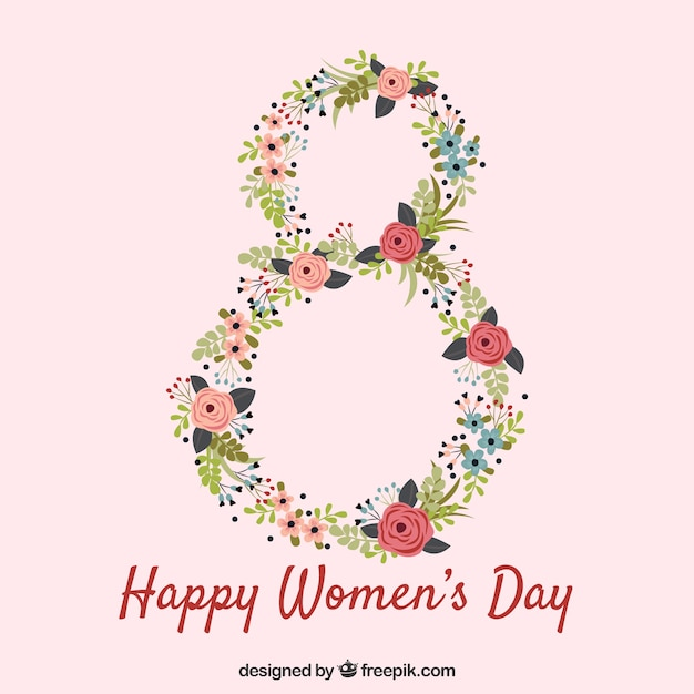 Womans day background with floral number Free Vector