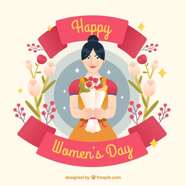 Womans day background with woman holding\ bouquet