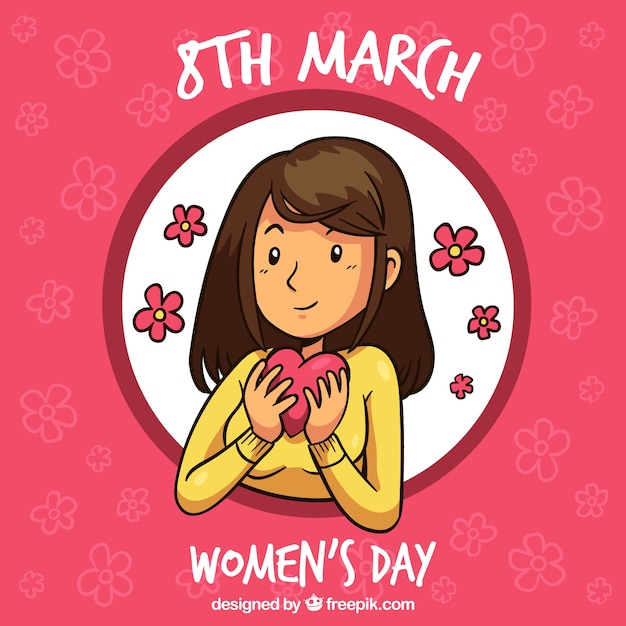 Womans day background with woman holding\ heart