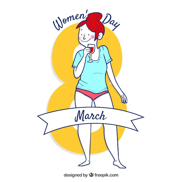 Womans day background with woman in\ underwear
