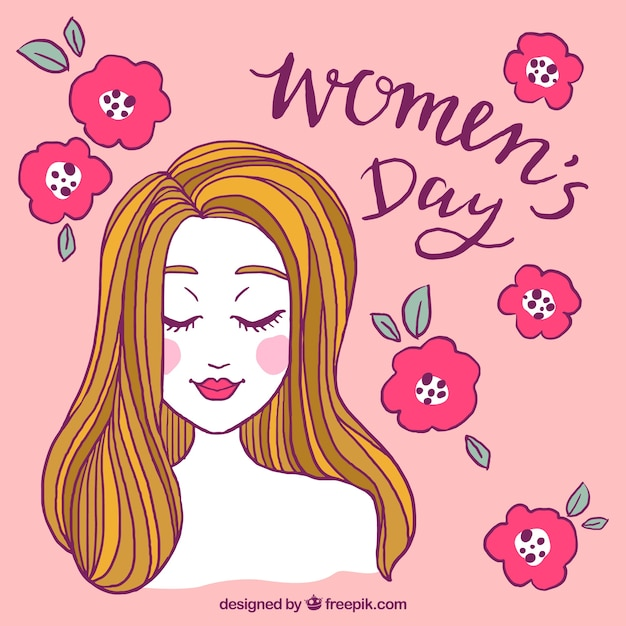 Womans day design with roses and face Free Vector