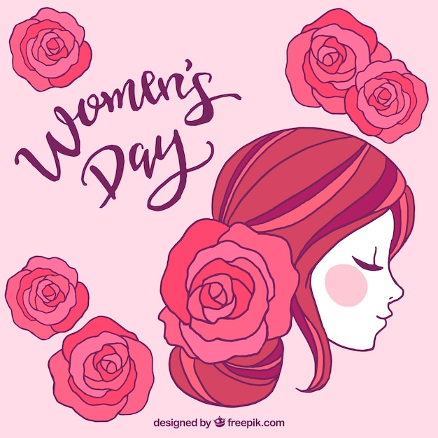 Womans day design with side view of face Free Vector