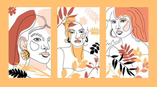 Лицо женщины минимальный стиль рисования линий. абстрактные современные осенние цвета коллаж из геометрических фигур в современном модном стиле. женский портрет. Premium векторы