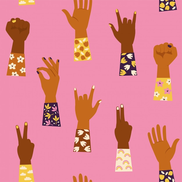Womans hands with her fist raised up and with various hands gestures. girl power. feminism . seamless pattern. Premium Vector
