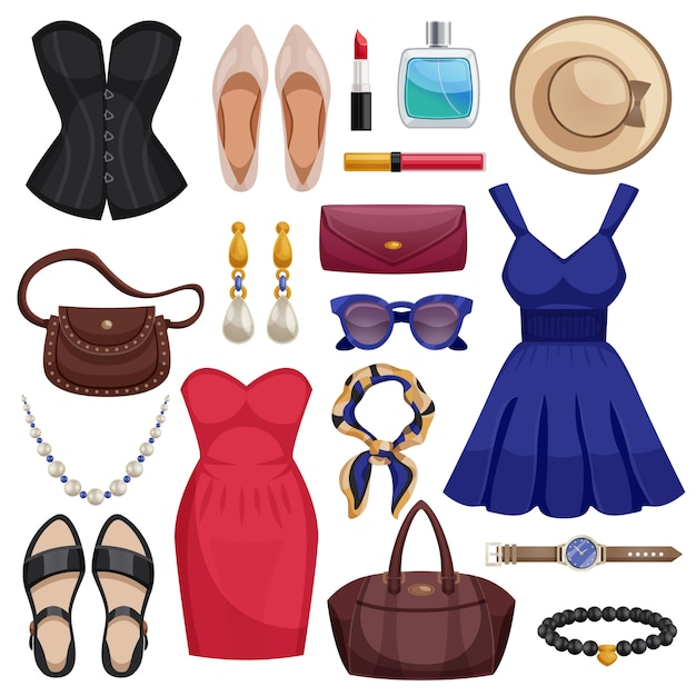 Women accessories icon set Free Vector