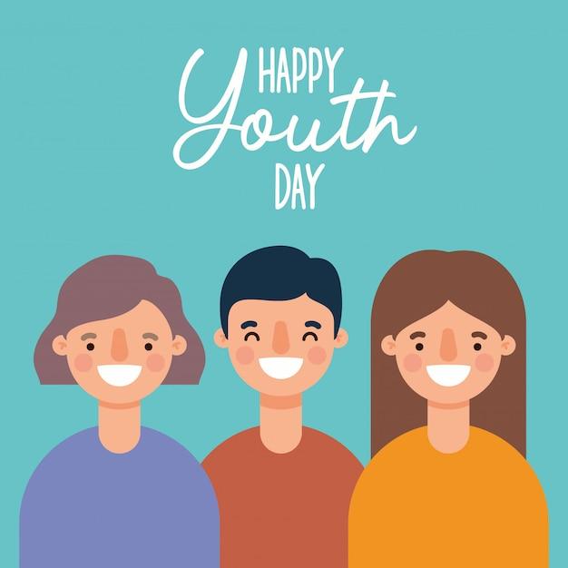 Женщины и мужчины мультфильмы улыбаются счастливого дня молодежи Premium векторы