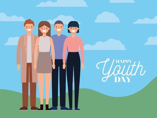Женские и мужские мультики улыбались счастливого дня молодежи Premium векторы