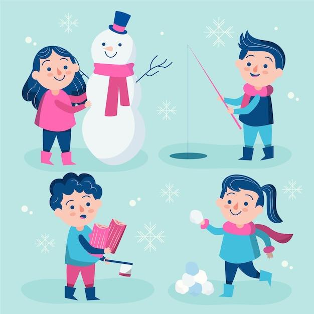 さまざまな冬の活動をしている女性と男性 無料ベクター