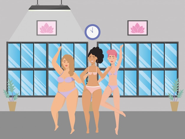 Women avatars in underwear Premium Vector