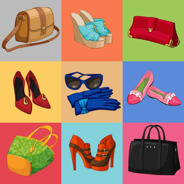 Women bags shoes and accessories collection Free Vector