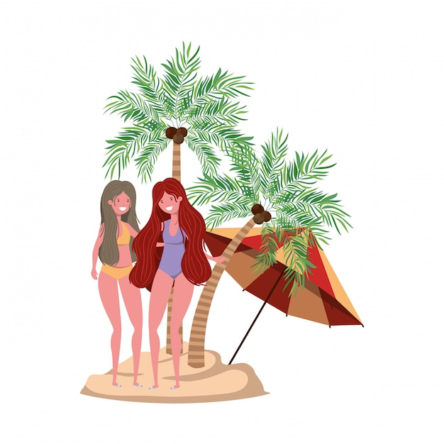 Women on the beach with swimsuit and palms Free Vector