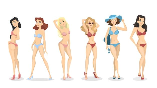 Women in bikini set. beautiful girls in swimwear. Premium Vector
