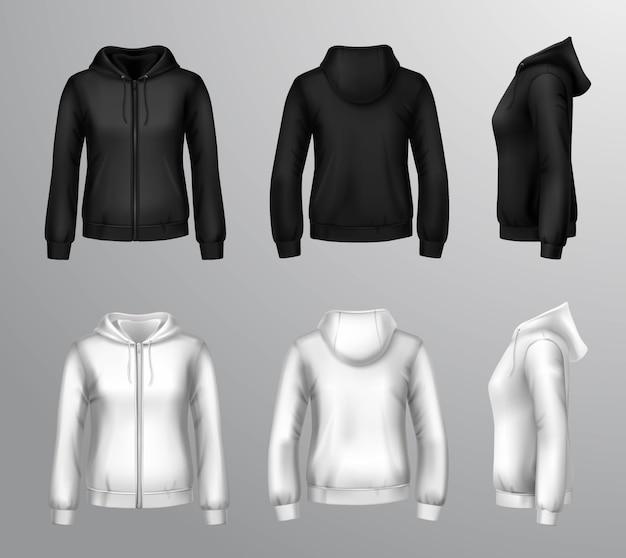 女性の黒と白のフード付きスウェットシャツ 無料ベクター