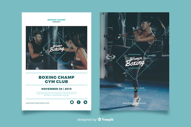 Women boxing sport poster template Free Vector