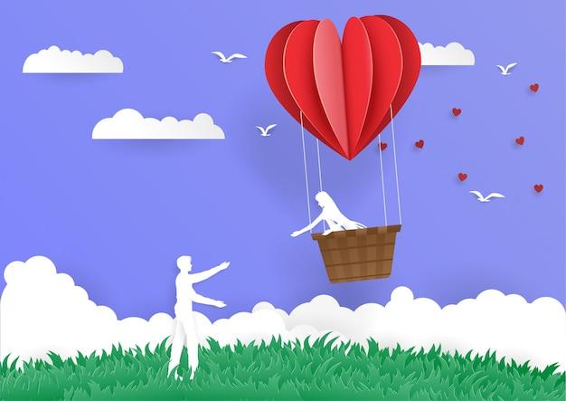 Women in bucket heart balloon go to man couple love Premium Vector